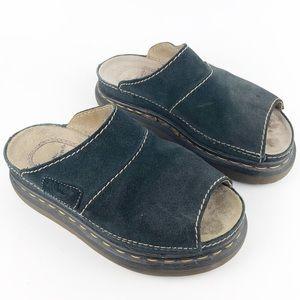 Dr. Martens Black Suede Chunky Heel Slides Size 6